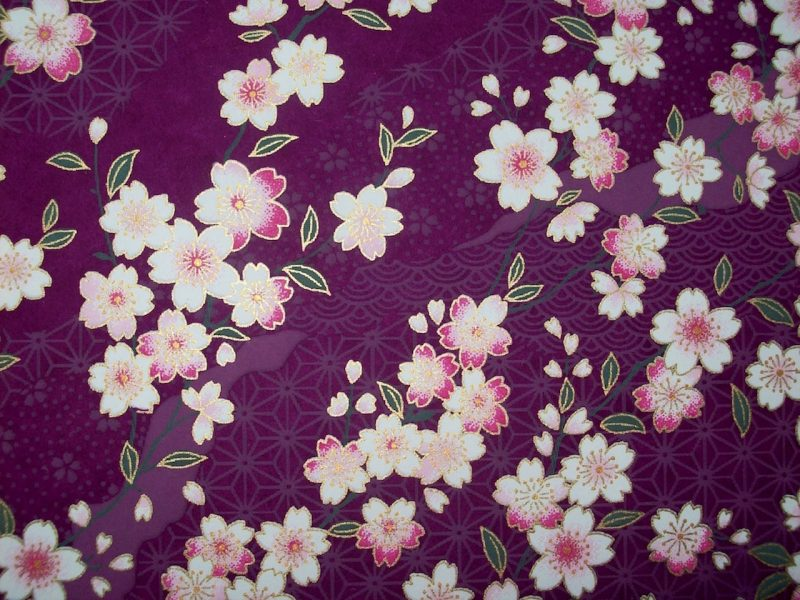 chiyogami purple background pink white flowers