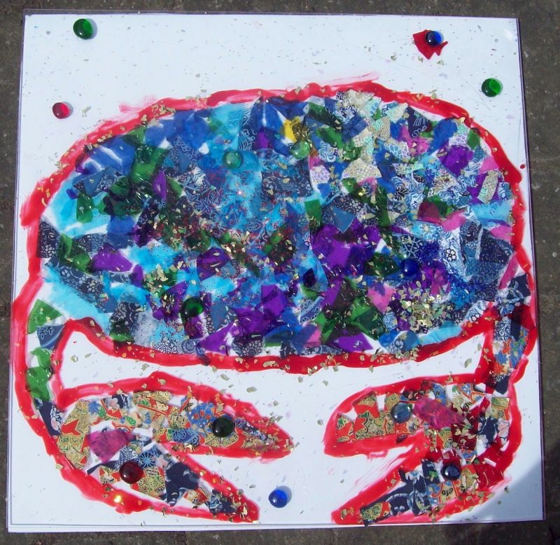 kids art workshops school crab collage