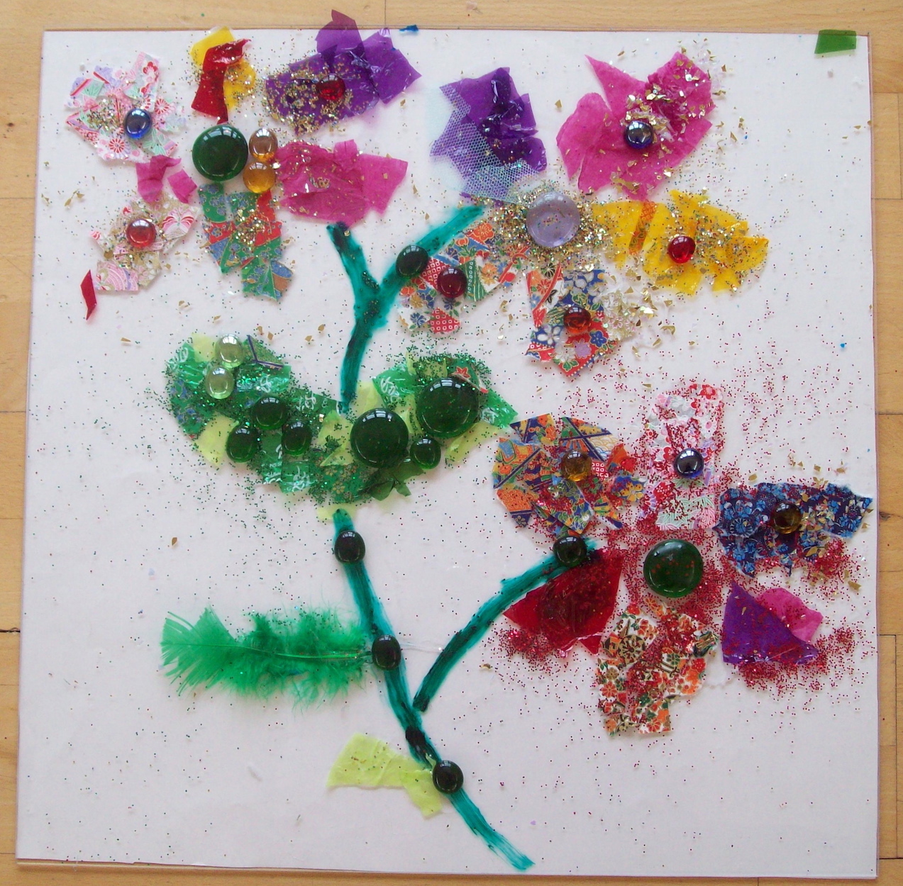 kids art workshops school flower collage