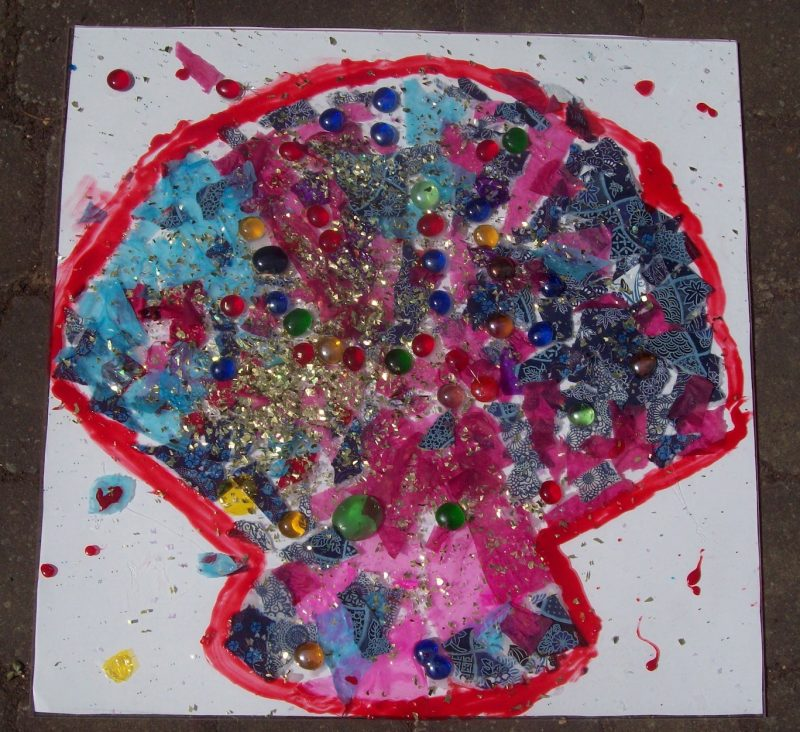 kids art workshops school shell collage