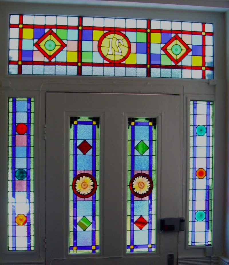 Stained glass or leaded light? A bit of both in this decorative glass front door in west London.