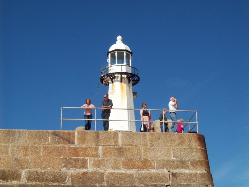 Lighthouse at St Ives harbour in Cornwall.