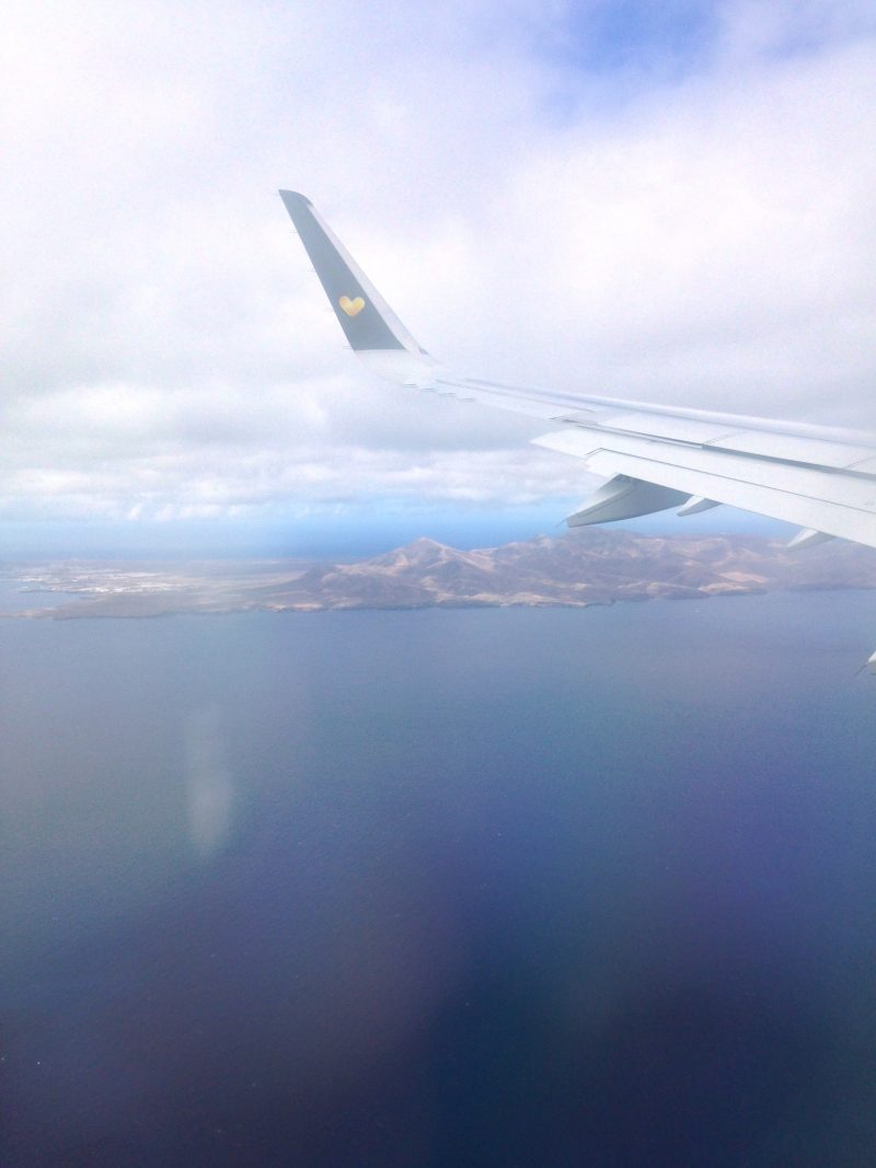Costa Teguise Lanzarote Canary Islands coming in to land.