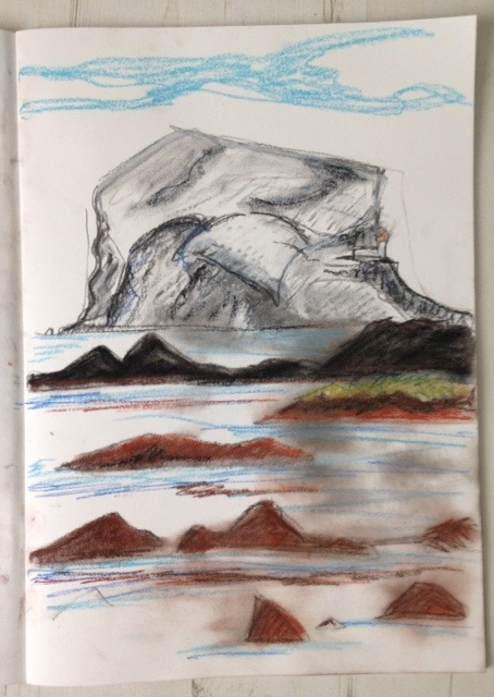 Islands of the Forth: Messy pastel of the Bass Rock from North Berwick beach.