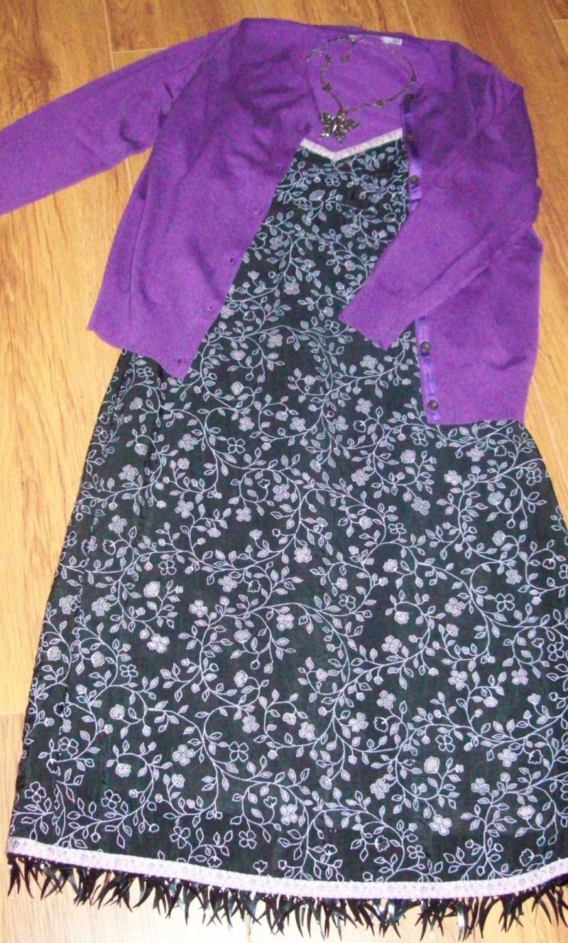 Betsey Johnson summer dress with purple cardigan from Zara.