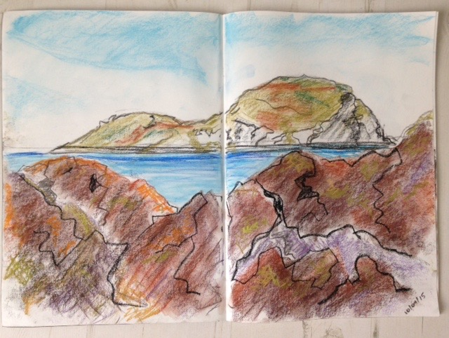 Islands of the Forth: Pastel sketch of Craigleith from North Berwick beach.