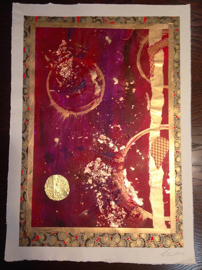 Dark red chiyogami paper abstract painting by Emerald Dunne Art.