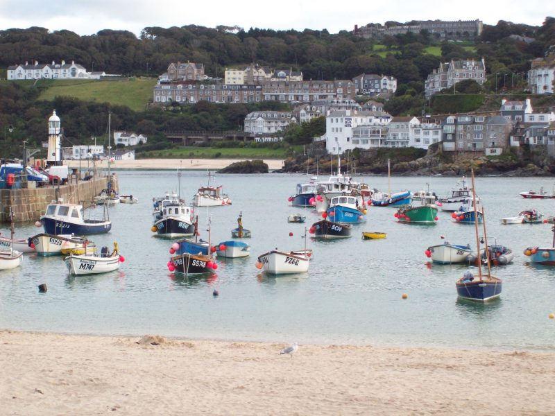 View of St Ives bay and beats in Cornwall town