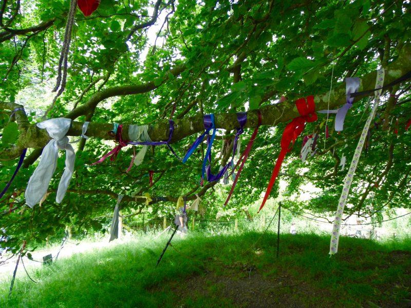 Beltane ribbons on trees at Avebury.