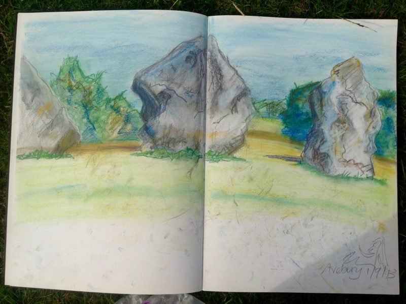 Avebury ring stone circle - a pastel sketch from life.