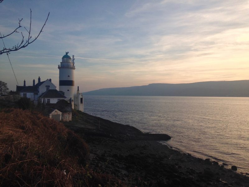 Cloch lighthouse near Gourock on the Firth of Clyde at sunset in April 2017.