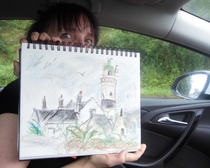 Sketching the Cloch lighthouse near Gourock on the Firth of Clyde by Emerald Dunne Glasgow artist.