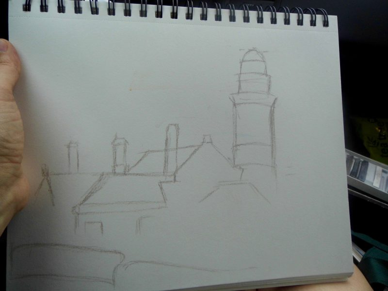 Cloch lighthouse pastel drawing