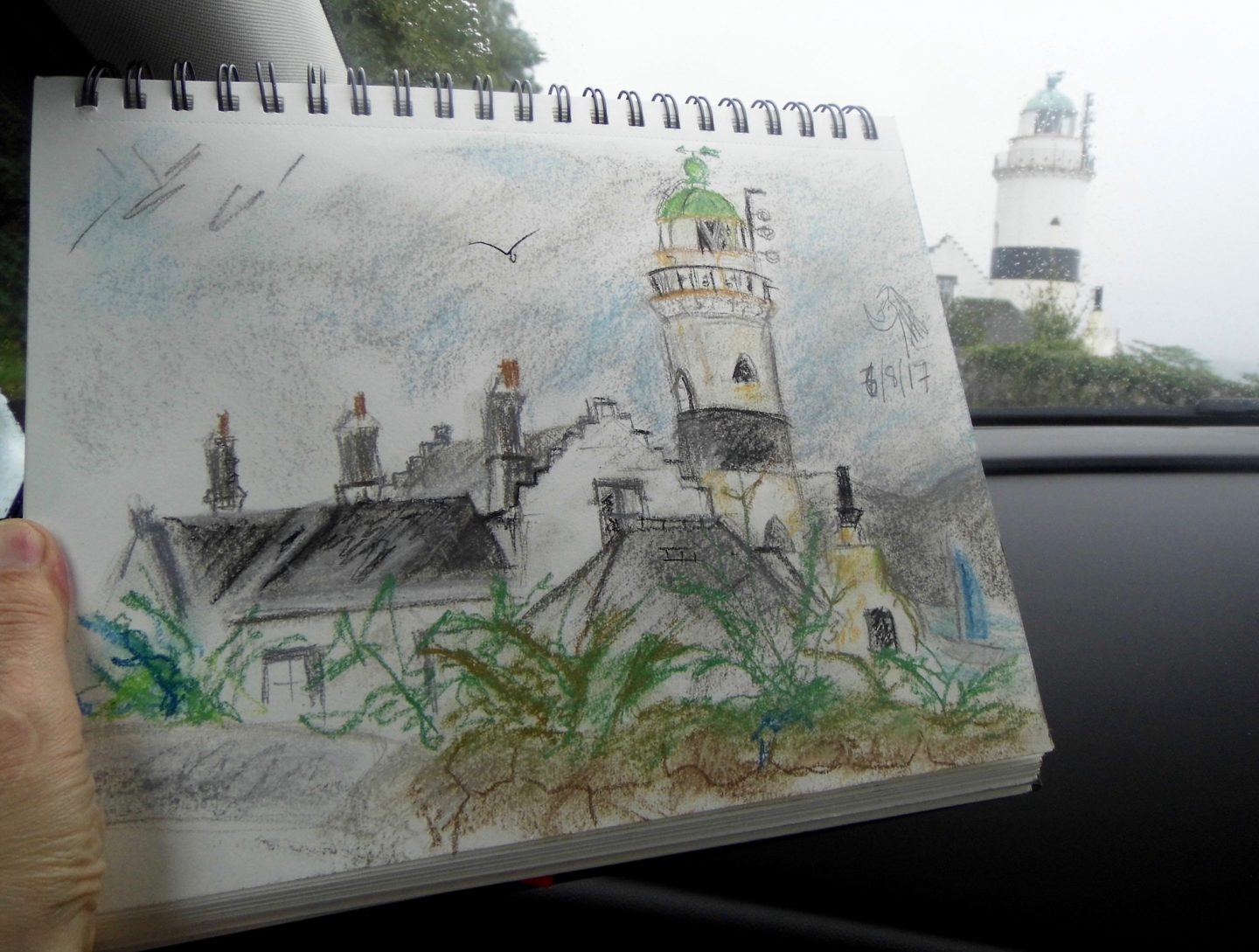 Pastel sketch of Cloch lighthouse Gourock in Scotland by Emerald Dunne artist on a rainy summer day