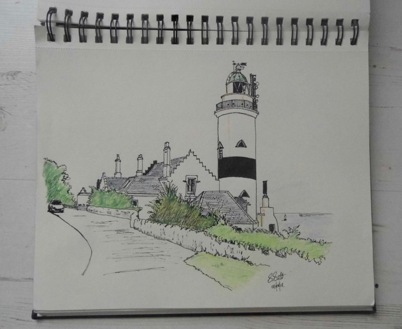 By Stephen Scott, Glasgow artist. Sketching the Cloch lighthouse near Gourock on the Firth of Clyde.