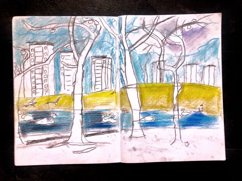 Spring sketches of the cherry blossom trees in Knightswood Park, Glasgow.