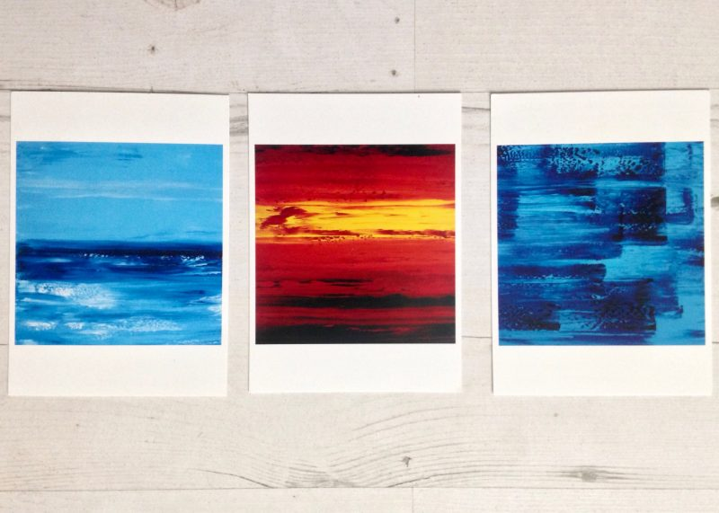 Postcards of abstract paintings by Alexandra Dickens, St. Ives artist, 2009.