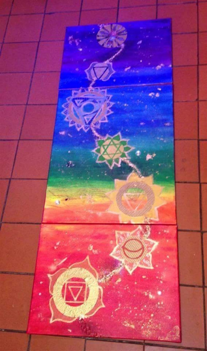 Yoga and art: chakra painting by Emerald Dunne