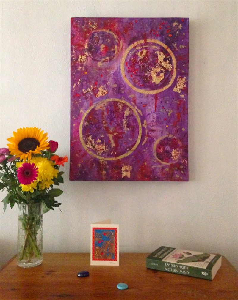 Yoga and art: purple abstract painting by Emerald Dunne.