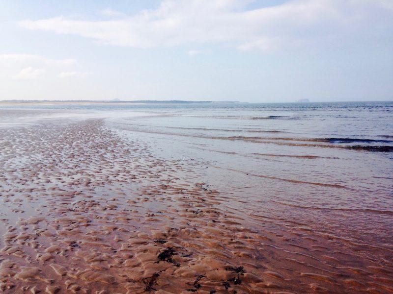 Turning 50: On Bellhaven beach near Dunbar.