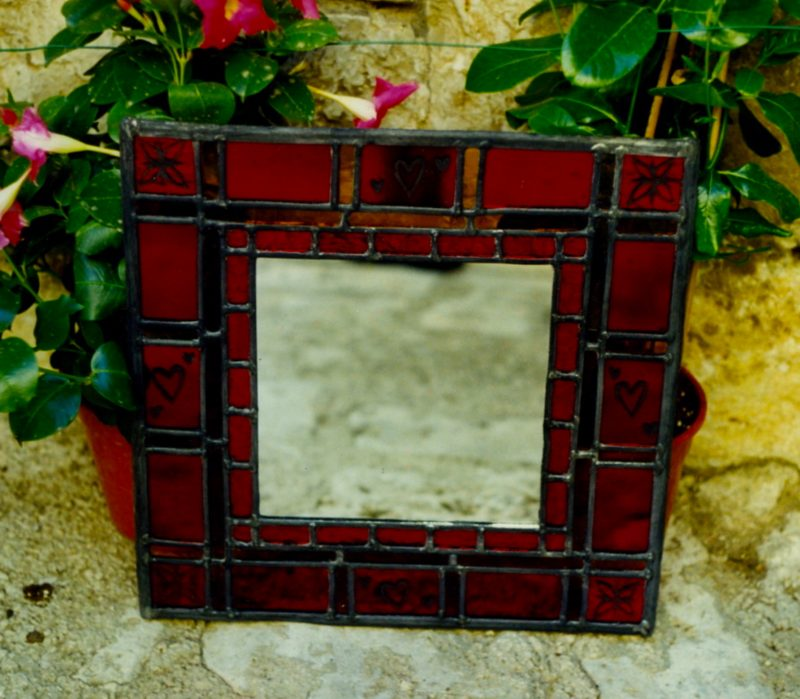 Small handmade red mirrors available on my Etsy store.
