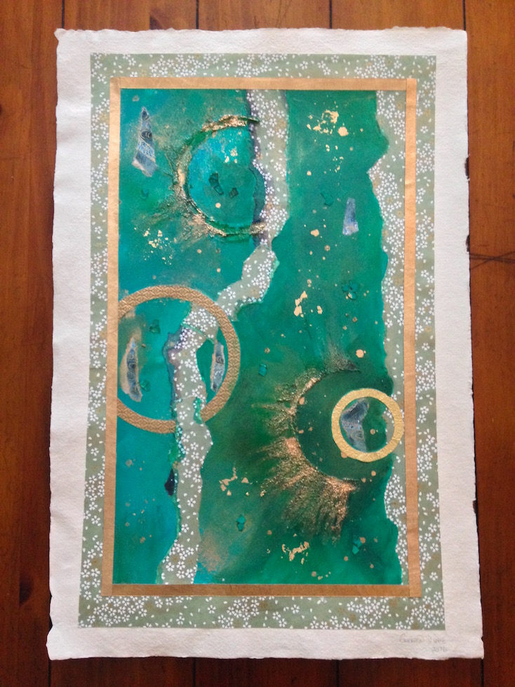 Green abstract painting by Emerald Dunne Art using Japanese chiyogami paper.