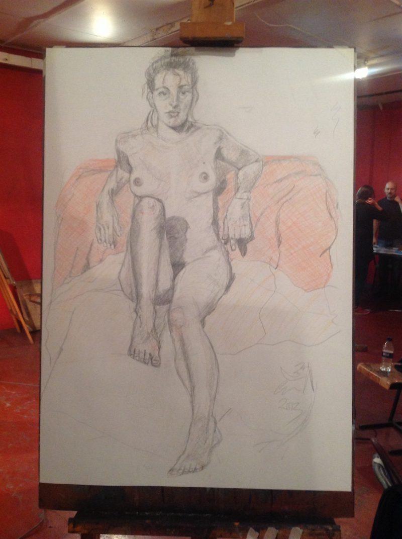 Life drawing class at Candid Arts, London.