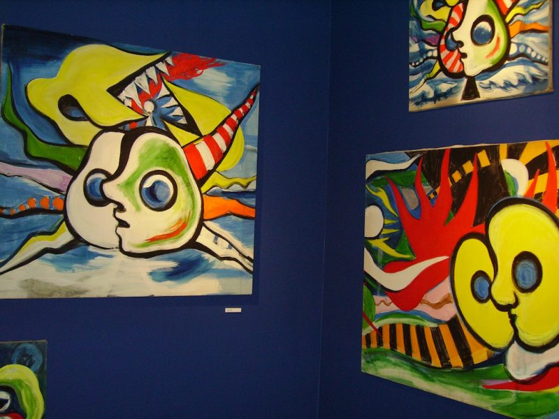 Taro Okamoto Museum in Tokyo. Large and colourful abstract paintings.