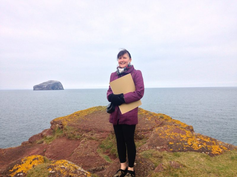 Turning 50: With my sketchbook at Seacliff beach near North Berwick.