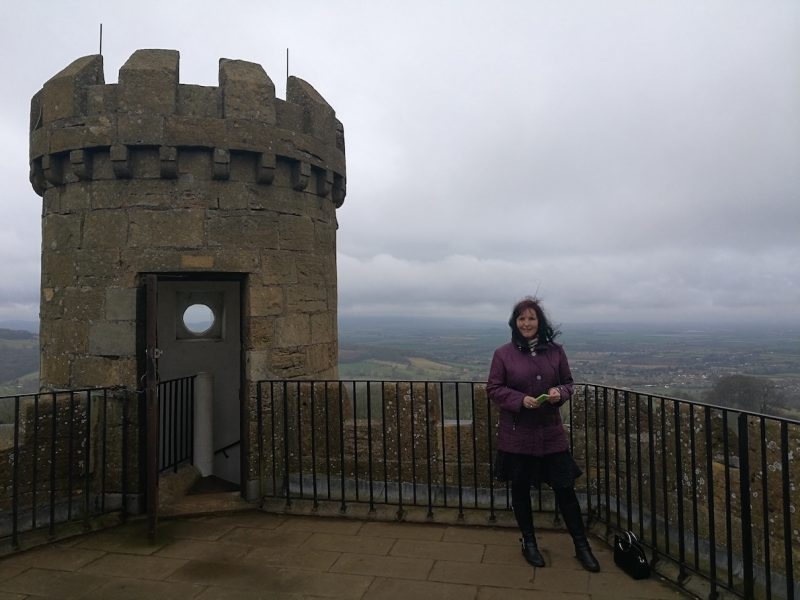 On top of Broadway Tower, Cotswolds, on a windy winter's day.