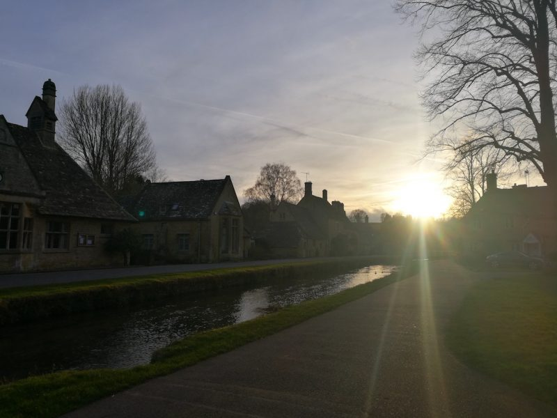 Low winter sun at Lower Slaughter, Cotswolds.