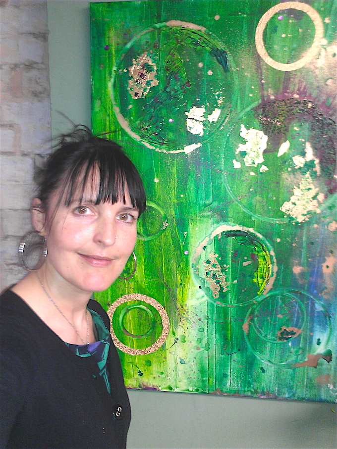 Art and music: Orgone Accumulator, large green abstract painting by Emerald Dunne Art.