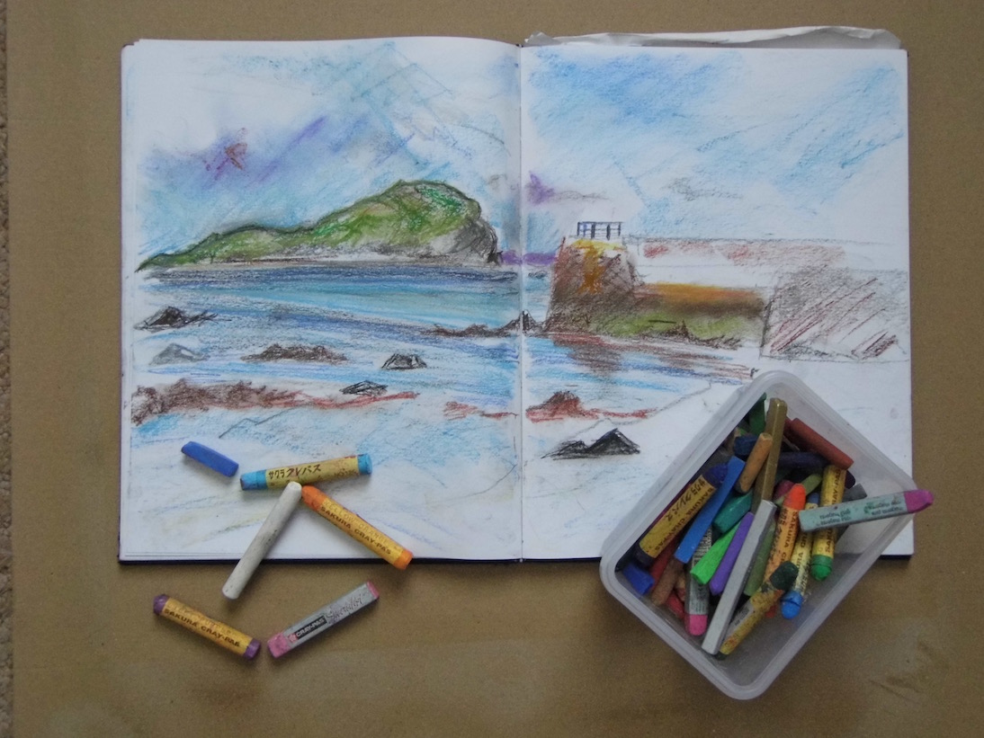 Beating the january blues: a sketch of Craigleith island from North Berwick beach by Emerald Dunne.