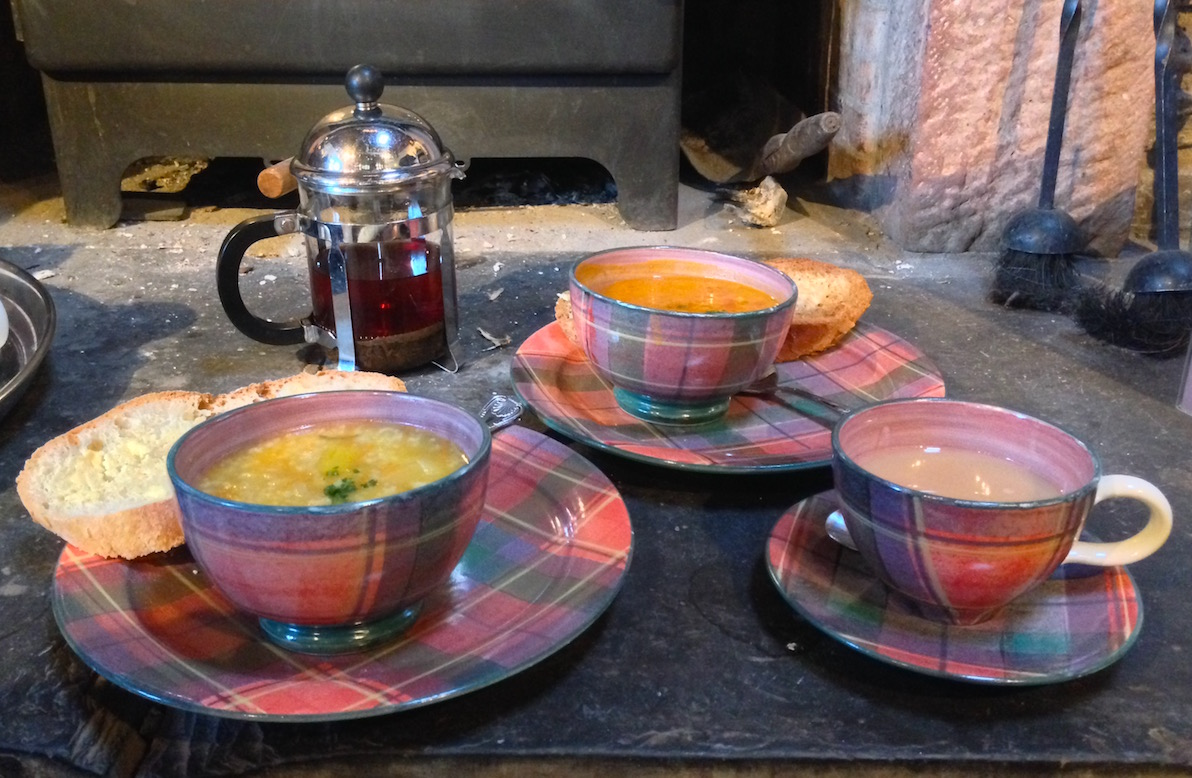 Pop into the Coach House at Luss for some piping hot soup served in tartan crockery.