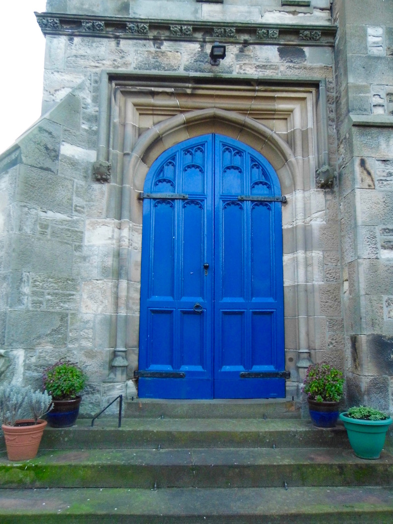 January 2018: Blue church door, Blackadder Church in North Berwick, Scotland.