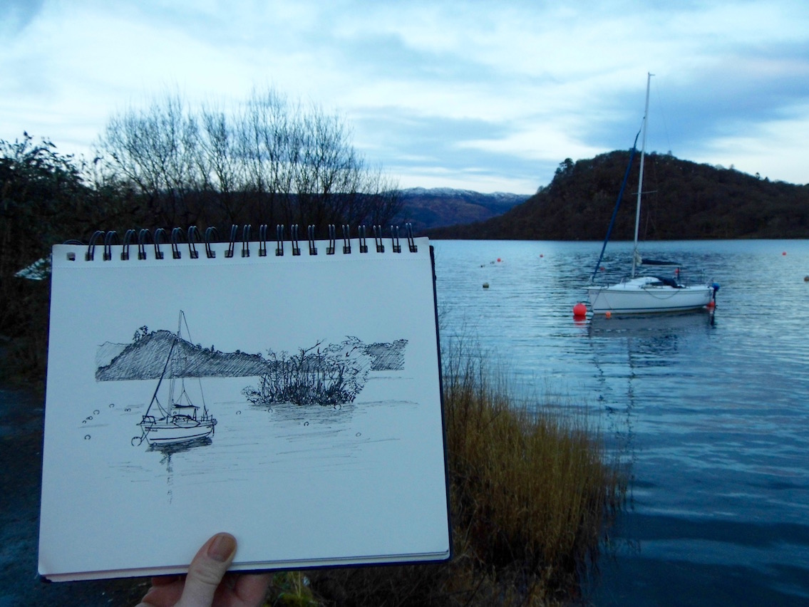 A quick sketchbook outing to Luss on Loch Lomond. Our first day out in 2018.