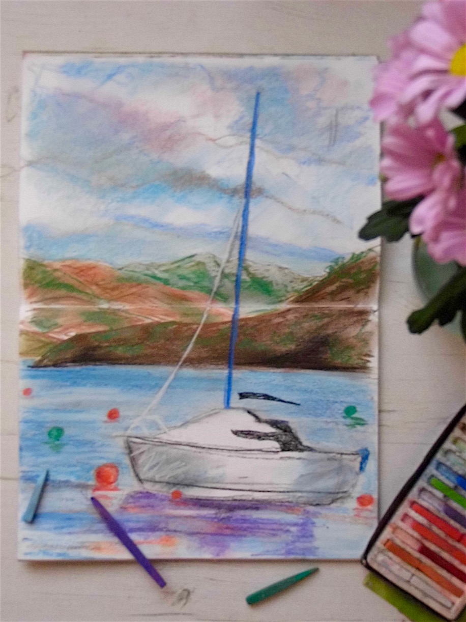 Day out to Luss on Loch Lomond with my sketchbook. Pastel drawing by Emerald Dunne Art.
