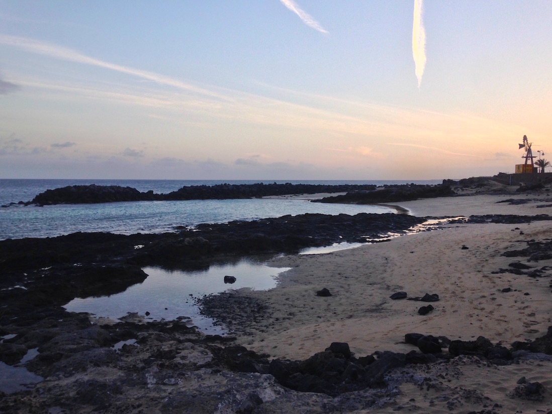 Beautiful sunset on the Costa Teguise. Lanzarote, Canary Islands.