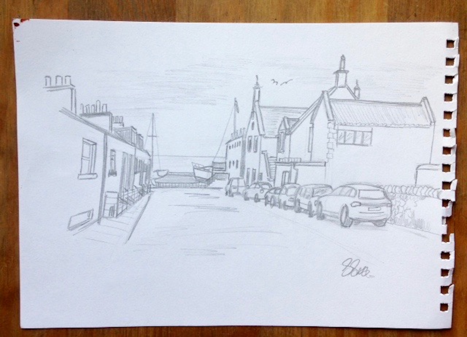 Pencil sketch of North Berwick by Glasgow artist Stephen Scott.