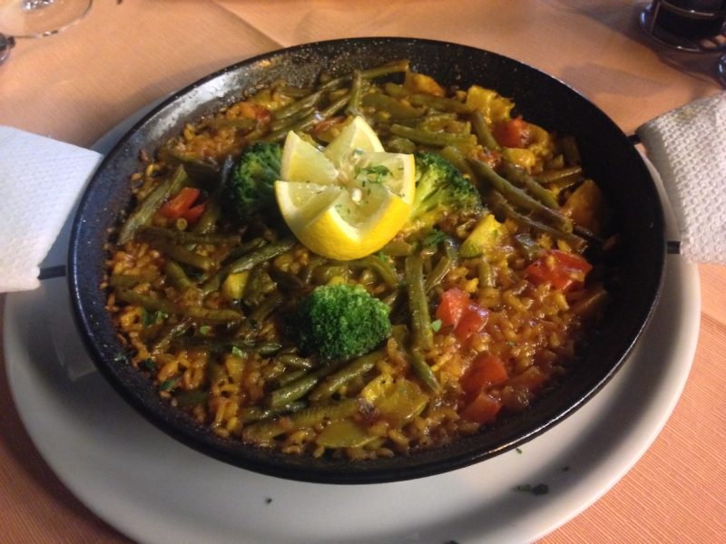 A delicious vegetarian paella devoured on the Costa Adeje, Tenerife.