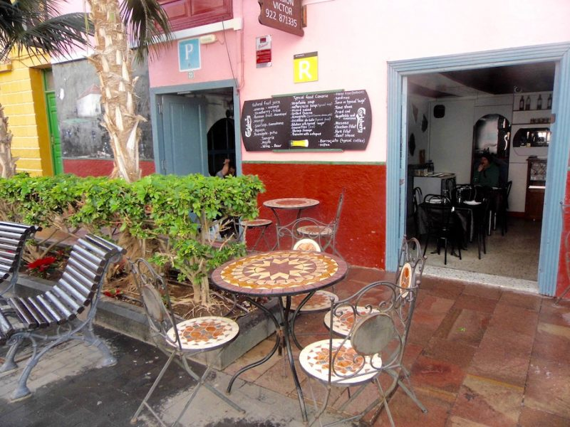 Colourful cafe in San Sebastian, Gomera, Canary Islands.