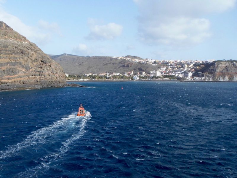Sailing into san Sebastian on la Gomera, Canary Islands.