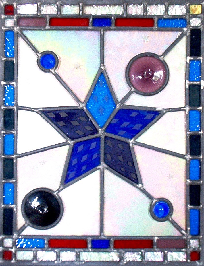 Purple and blue stained glass leaded light panel by Emerald Dunne Art.