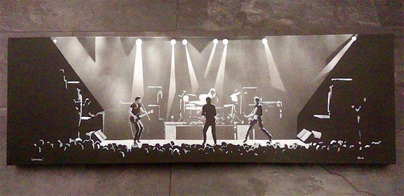 Stephen Scott, self-taught Glasgow artist. Painting of the Clash on stage.