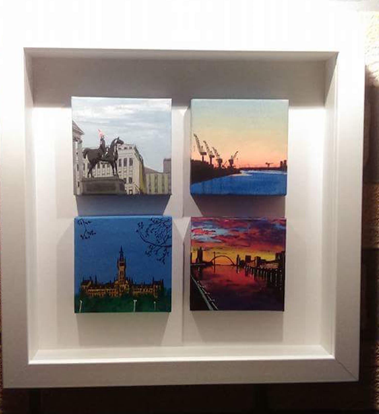 Stephen Scott, self-taught Glasgow artist. Miniature scenes of Glasgow.