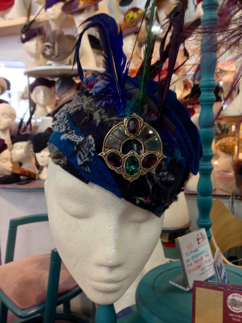 Blue feathered hat from Fabhatrix, Grassmarket, Edinburgh in April 2018.