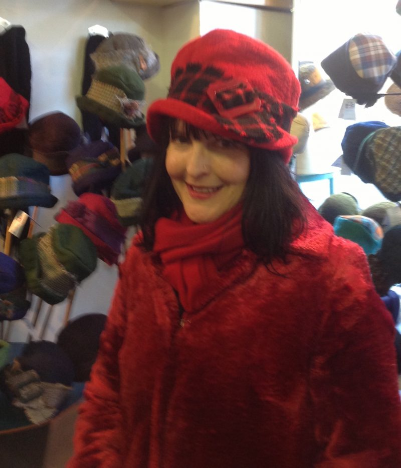 Fantastic bespoke red hat at Fabhatrix in Edinburgh's Grassmarket.