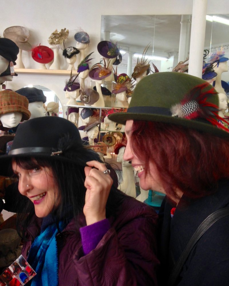 April 2018: Fantastic bespoke hats at Fabhatrix in Edinburgh's Grassmarket.