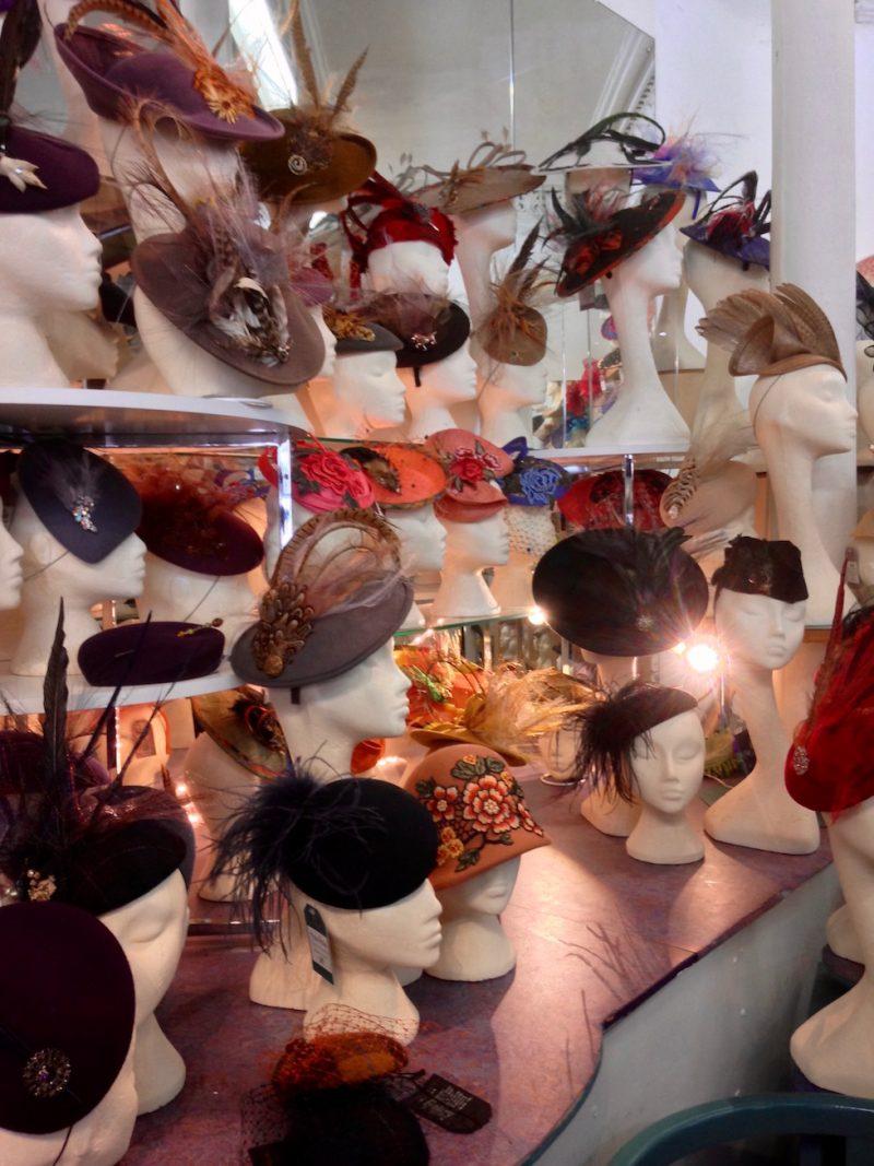 April 2018: Fantastic bespoke hats at Fabhatrix in Edinburgh's Grassmarket.