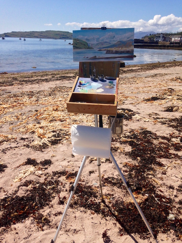 Painting by Scottish artist Les Wright. Setting up for at artist date on Millport island, Scotland at Plein Air Day organised by the Studio Gallery.